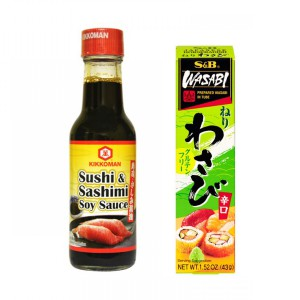 Kikkoman Sashimi & Sushi Soy Sauce 150mL x2 (Made in Singapore) + S & B Neri Wasabi - 43g x2 (Made in Japan)